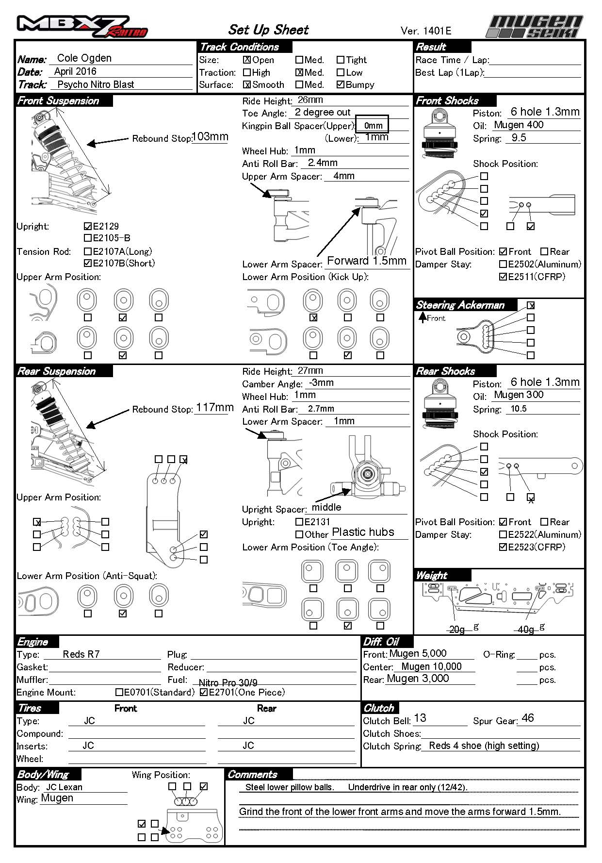 Setup Sheets